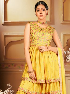 Yellow Embroidered Chinon Designer Salwar Kameez
