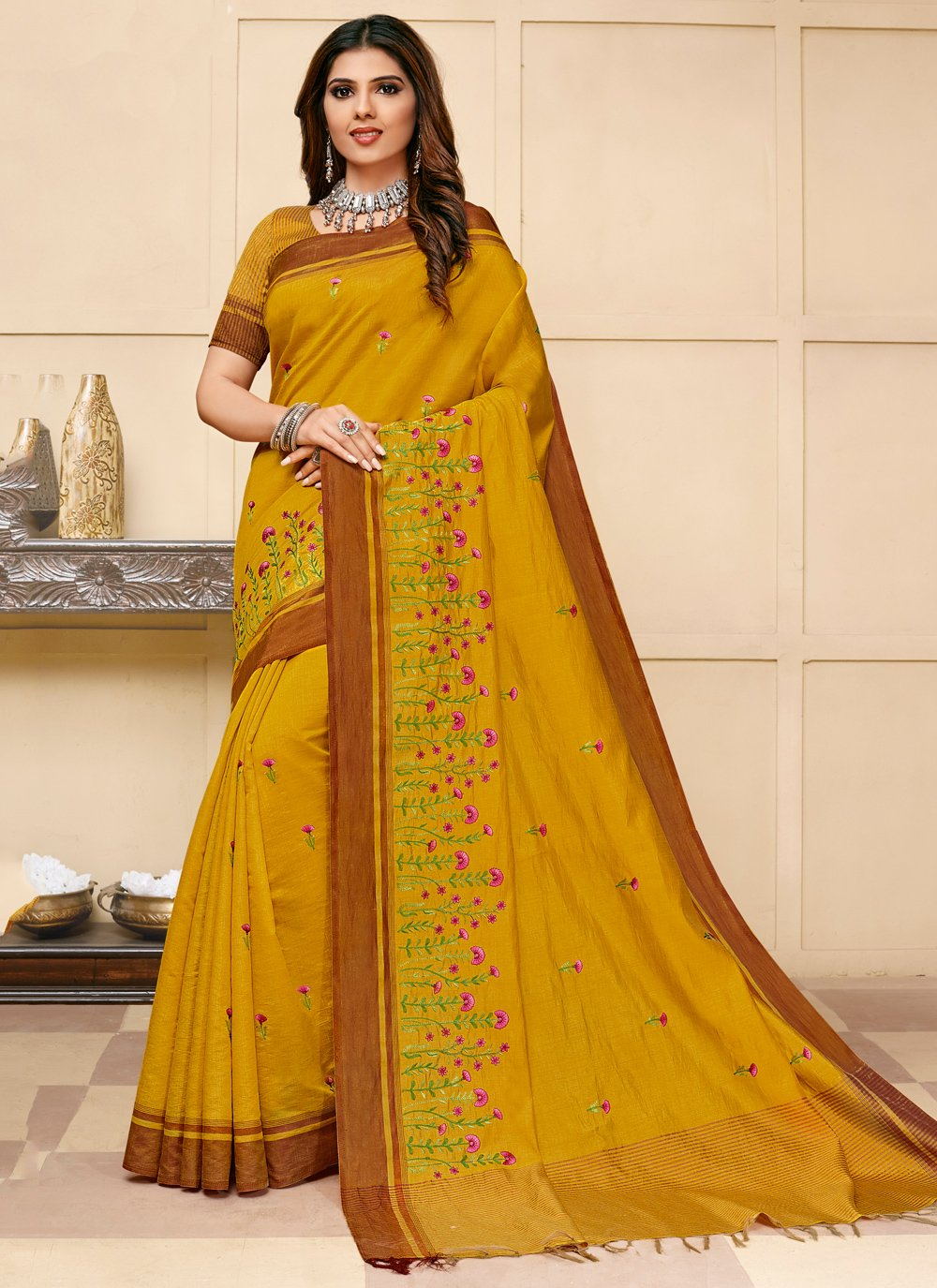 Yellow Embroidered Contemporary Saree