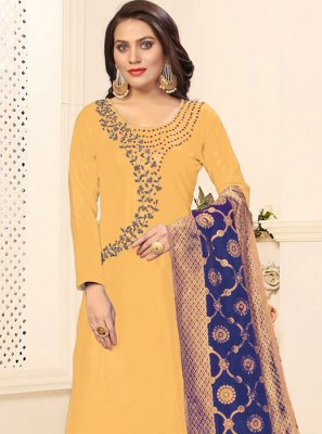 Yellow Embroidered Cotton Pant Style Suit