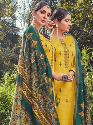Yellow Embroidered Cotton Salwar Suit