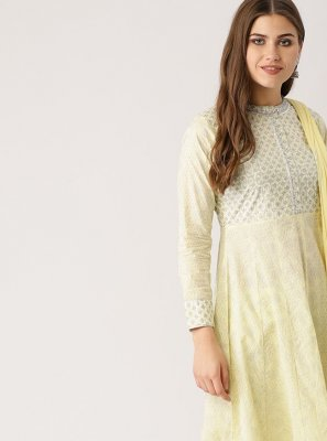 Yellow Embroidered Cotton Silk Salwar Suit