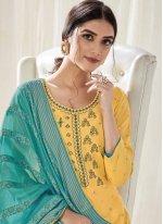 Yellow Embroidered Designer Pakistani Salwar Suit