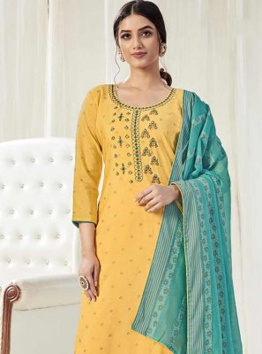 Yellow Embroidered Designer Pakistani Salwar Suit