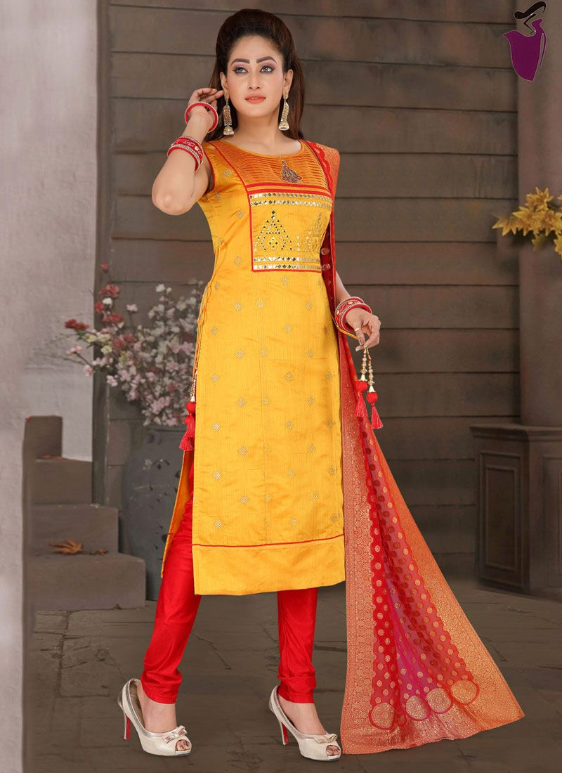 Yellow Embroidered Fancy Fabric Readymade Suit