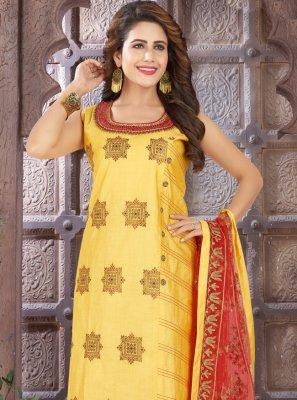 Yellow Embroidered Festival Churidar Salwar Kameez
