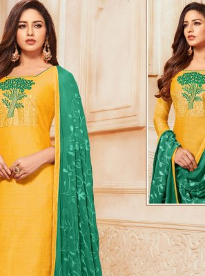 Yellow Embroidered Festival Churidar Salwar Suit