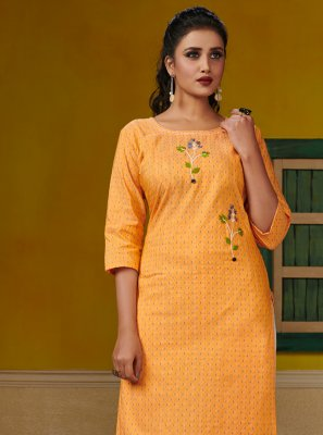 Yellow Embroidered Festival Designer Kurti