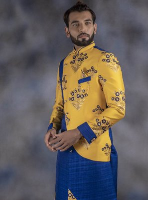 Yellow Embroidered Festival Indo Western
