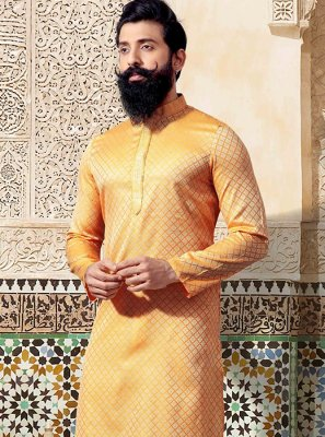 Yellow Embroidered Jacquard Kurta Pyjama