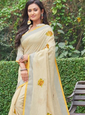 Yellow Embroidered Mehndi Casual Saree