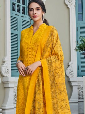 Yellow Embroidered Palazzo Salwar Kameez