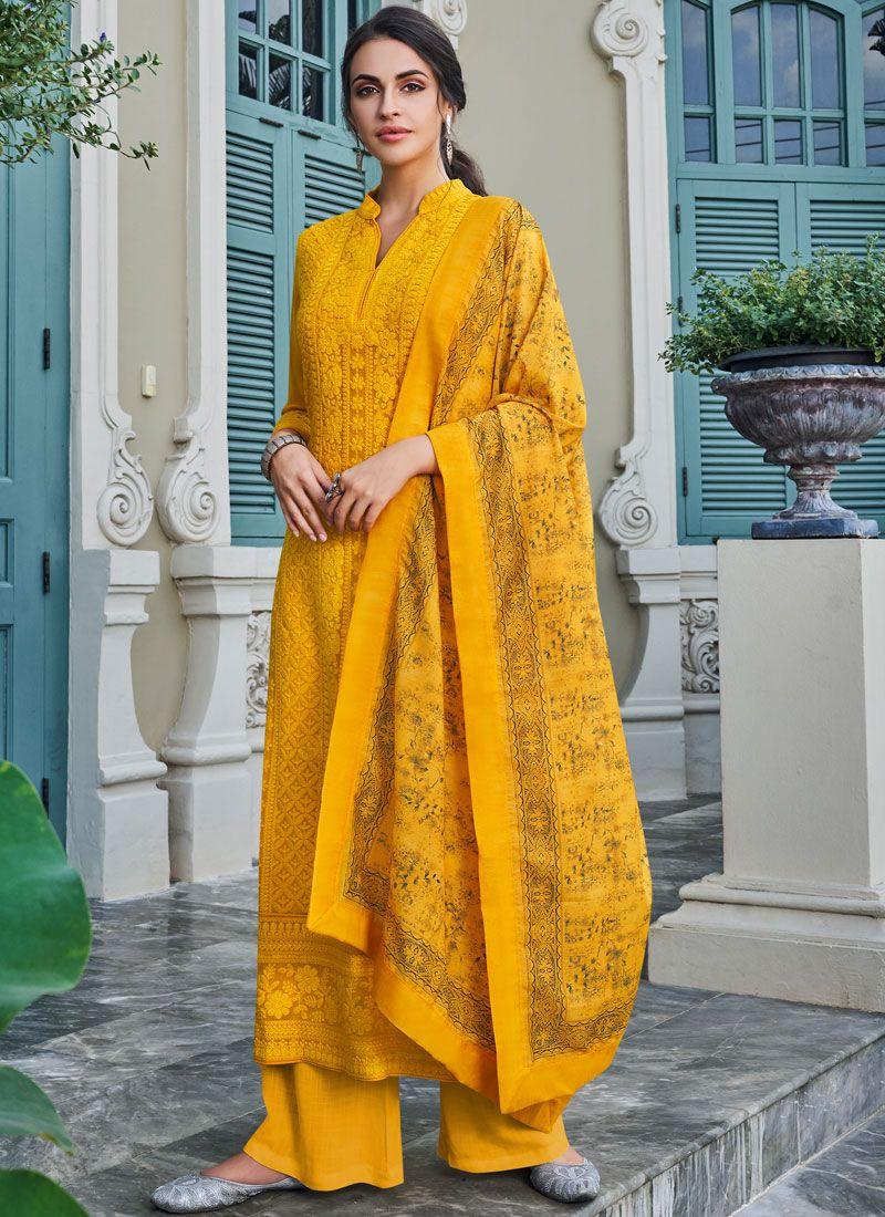 Yellow Embroidered Palazzo Salwar Kameez