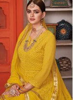 Yellow Embroidered Party Anarkali Salwar Kameez