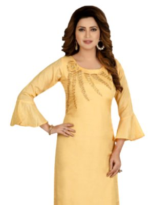 Yellow Embroidered Party Designer Kurti