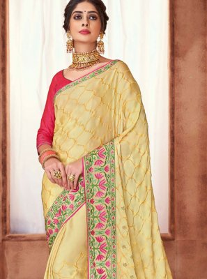 Yellow Embroidered Poly Silk Silk Saree
