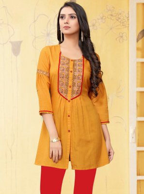 Yellow Embroidered Rayon Casual Kurti