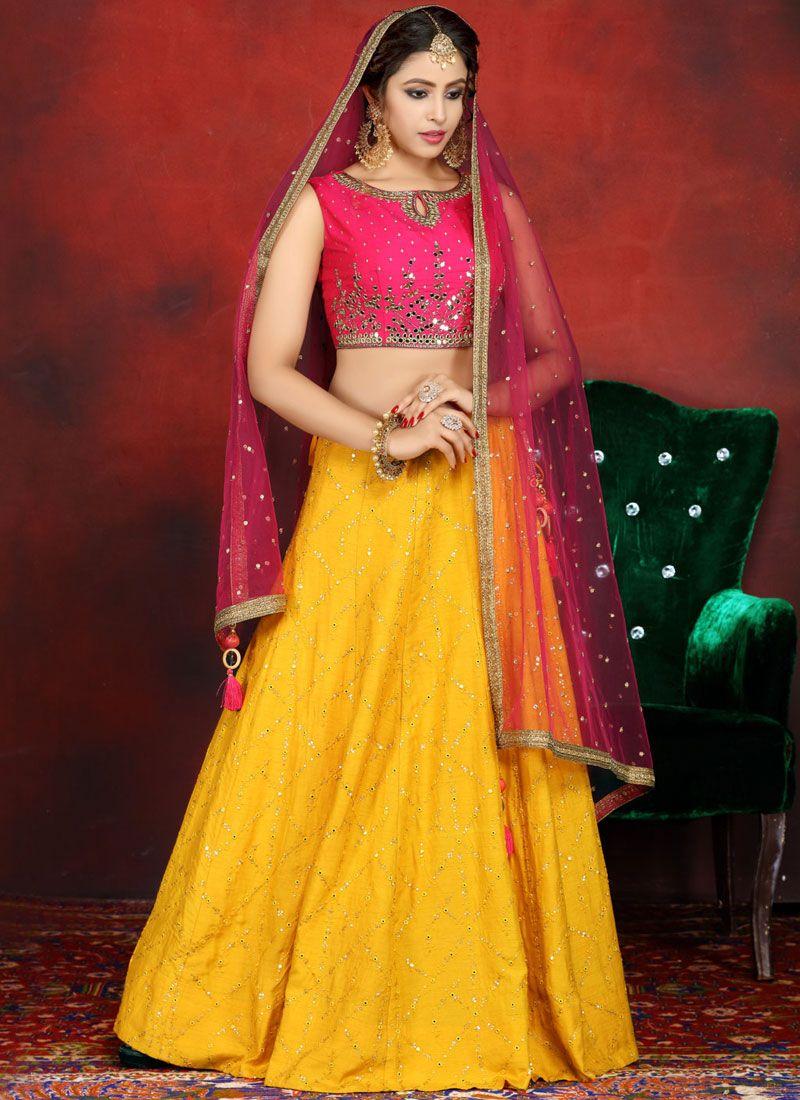 Yellow Embroidered Readymade Lehenga Choli