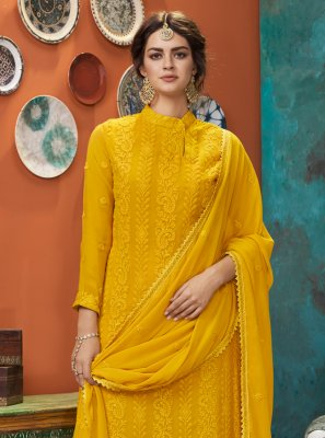 Yellow Embroidered Salwar Kameez