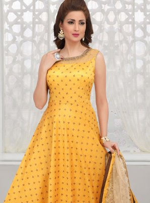 Yellow Embroidered Sangeet Anarkali Salwar Kameez