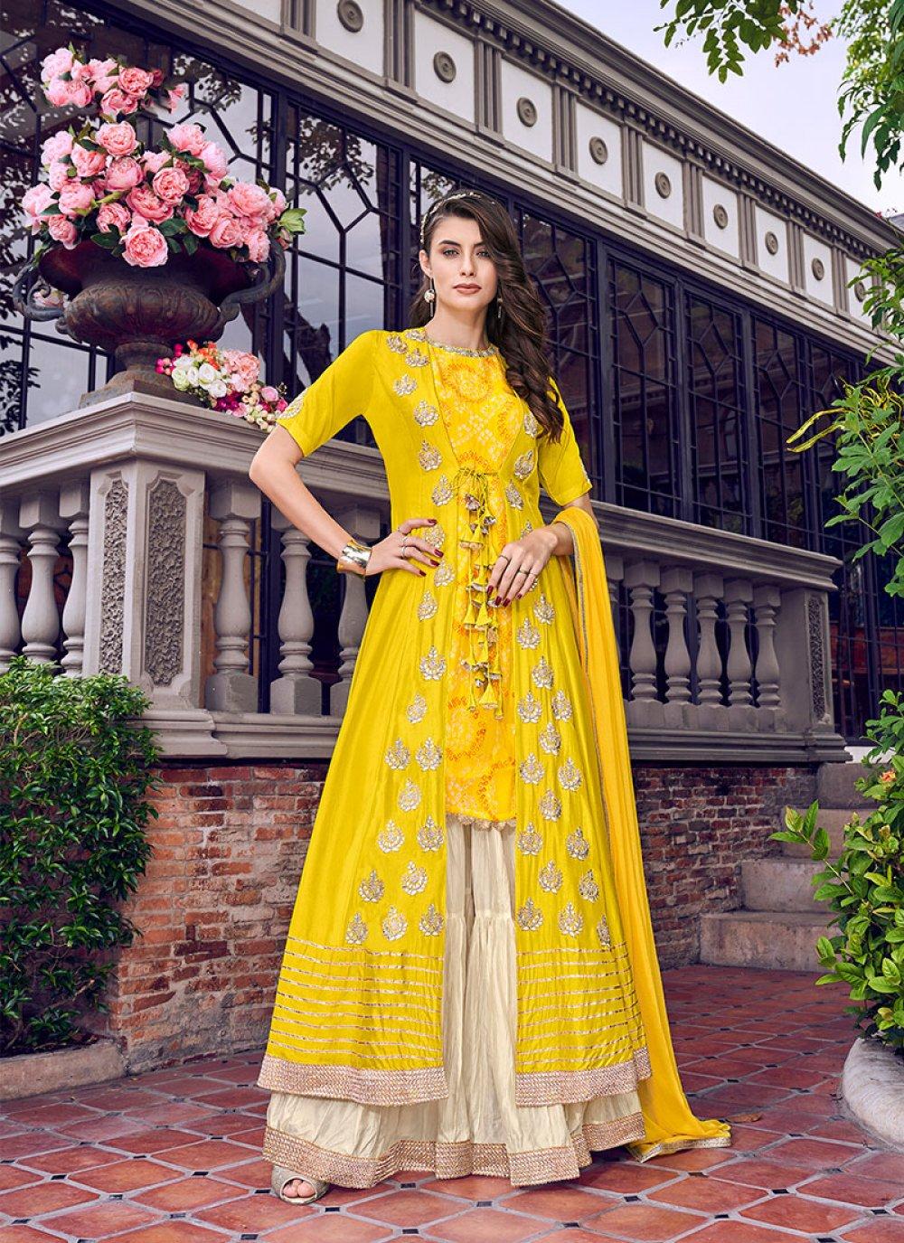 Yellow Embroidered Satin Designer Palazzo Salwar Kameez