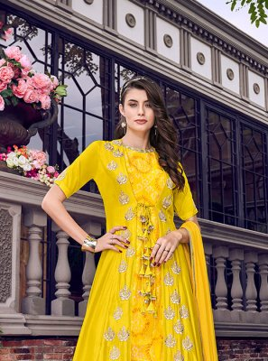 Yellow Embroidered Satin Designer Palazzo Salwar Kameez