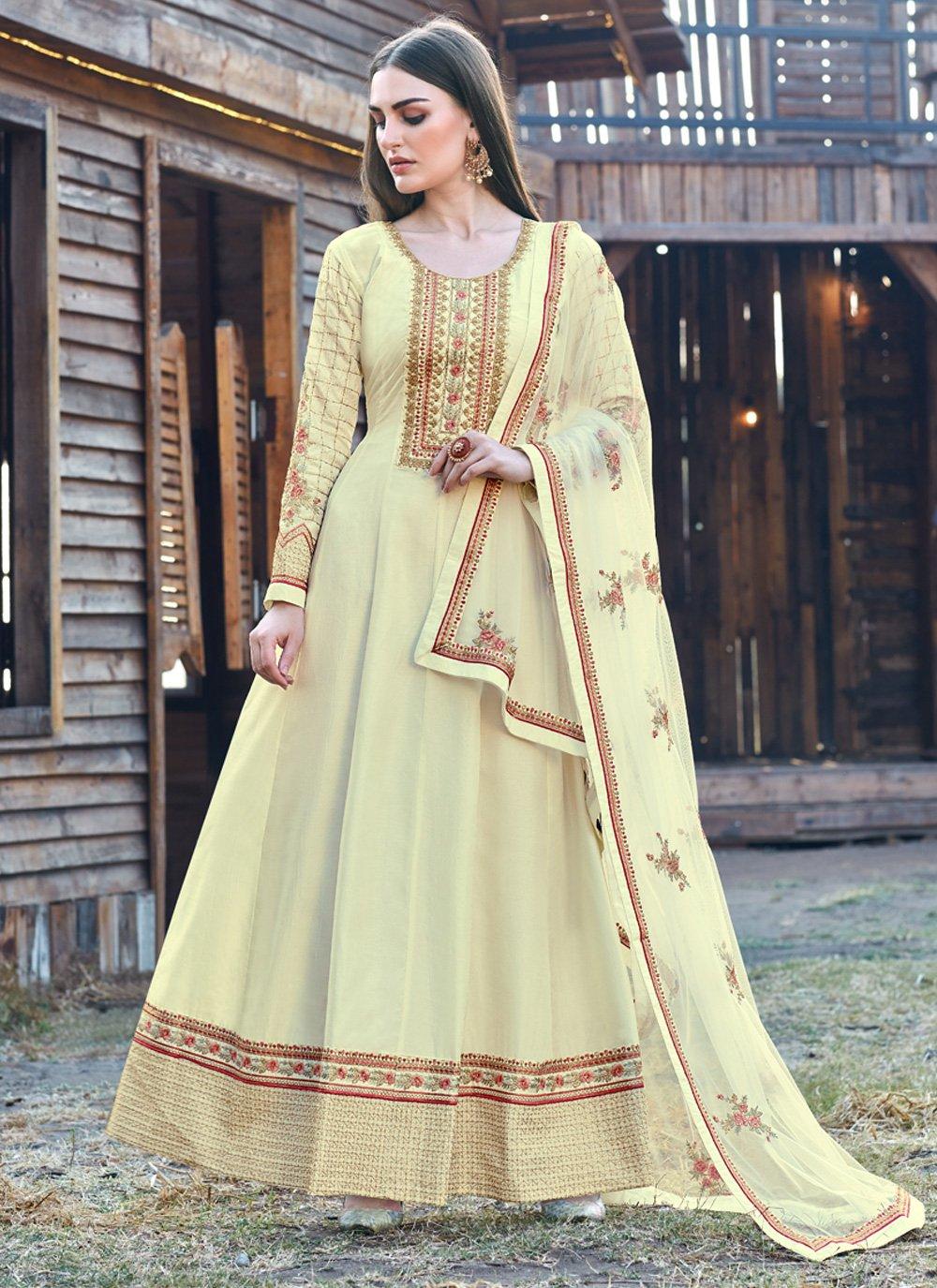 Yellow Embroidered Silk Bollywood Salwar Kameez