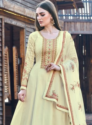Yellow Embroidered Silk Bollywood Salwar Kameez