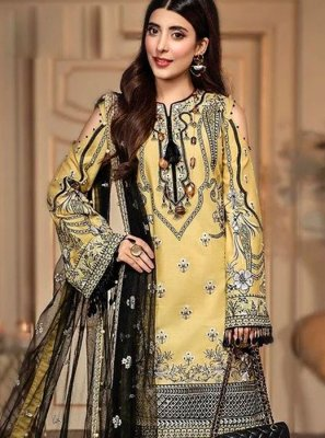 Yellow Embroidered Silk Salwar Kameez