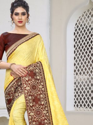 Yellow Embroidered Silk Silk Saree