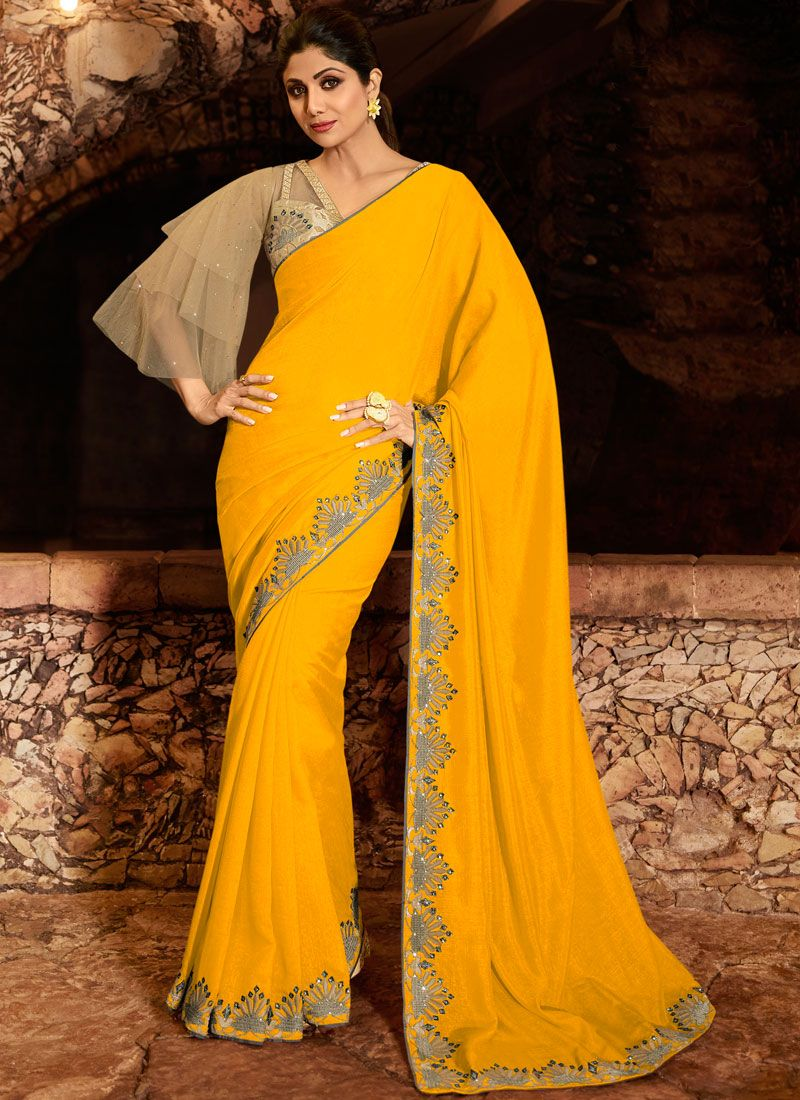 Yellow Embroidered Silk Trendy Saree