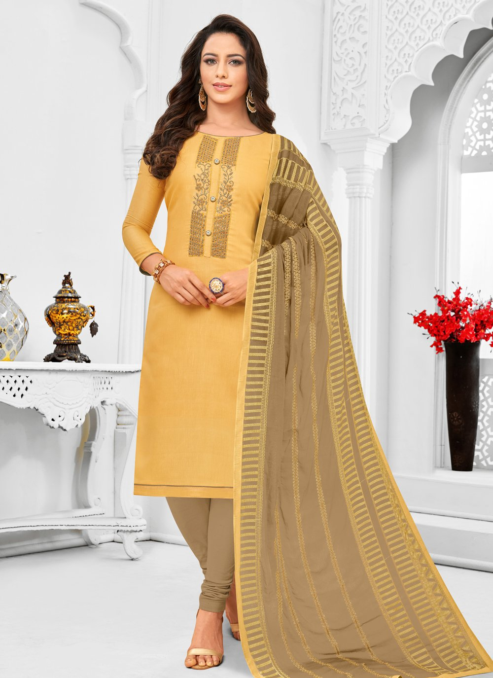 Yellow Embroidered Silk Trendy Suit