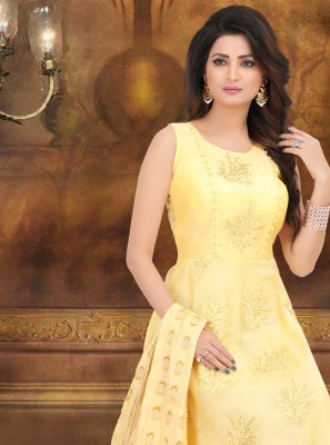 Yellow Embroidered Trendy Anarkali Suit