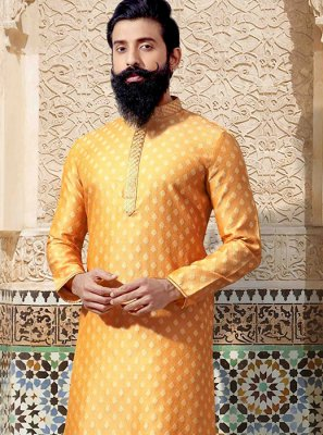 Yellow Embroidered Wedding Kurta Pyjama