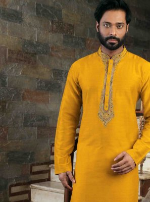 Yellow Engagement Art Silk Kurta Pyjama