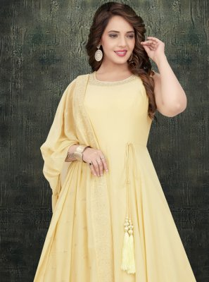 Yellow Engagement Georgette Long Length Anarkali Salwar Suit
