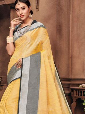 Yellow Fancy Classic Saree