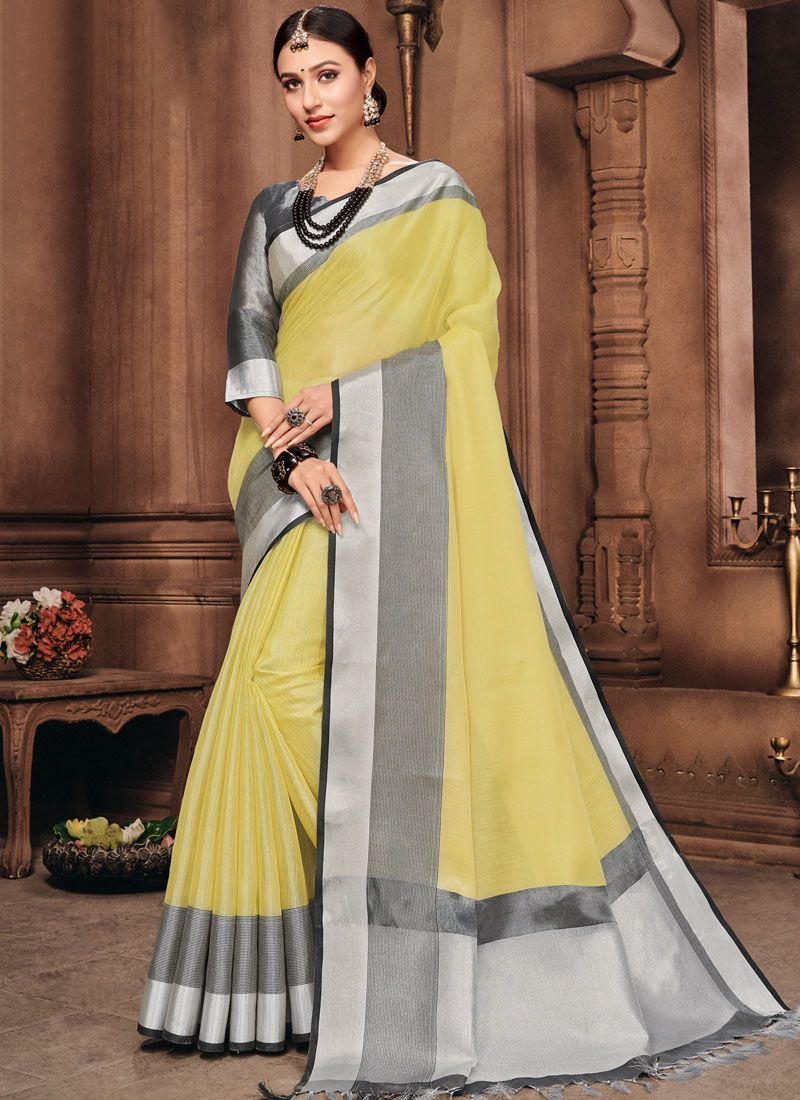 Yellow Fancy Linen Classic Designer Saree