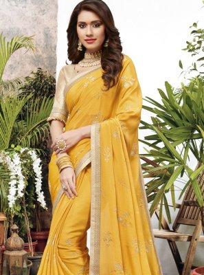 Yellow Faux Chiffon Zari Designer Saree