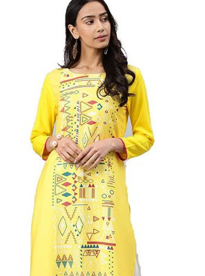 Yellow Faux Crepe Casual Kurti