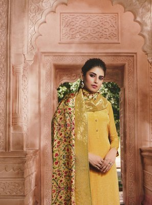 Yellow Faux Crepe Designer Salwar Suit