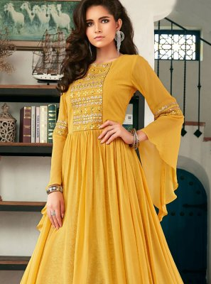 Yellow Faux Georgette Long Choli Lehenga
