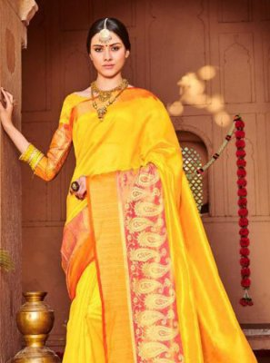 Yellow Festival Banarasi Silk Classic Saree