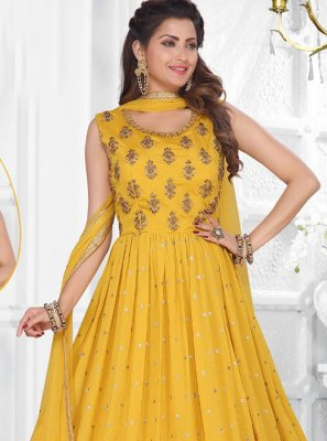 Yellow Festival Faux Chiffon Readymade Suit