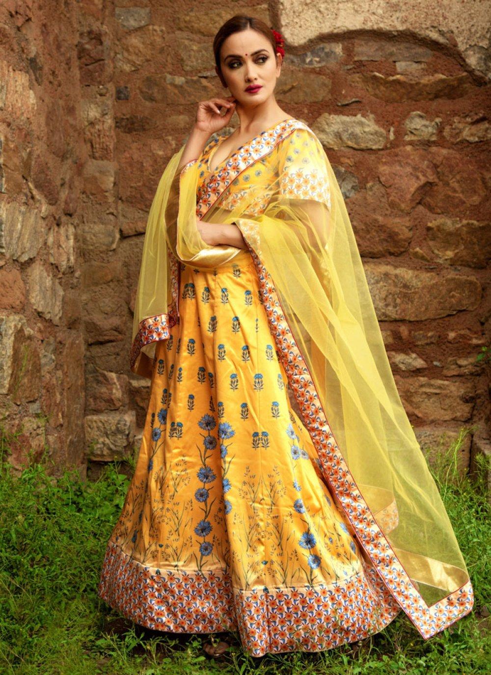 Yellow Festival Satin Designer Lehenga Choli