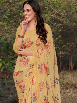 Yellow Floral Print Georgette Designer Saree