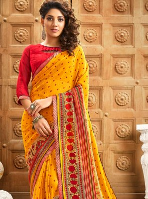 Yellow Georgette Border Designer Saree