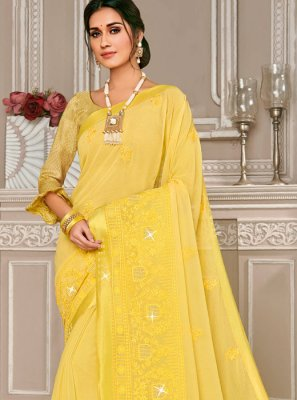 Yellow Georgette Ceremonial Designer Saree