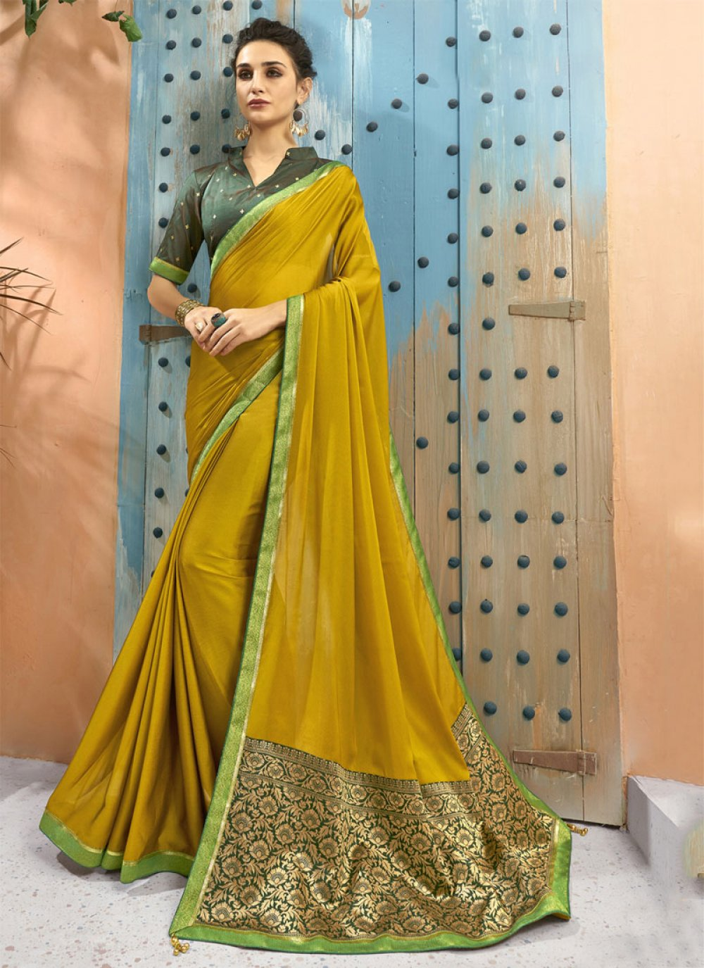 Yellow Georgette Classic Saree