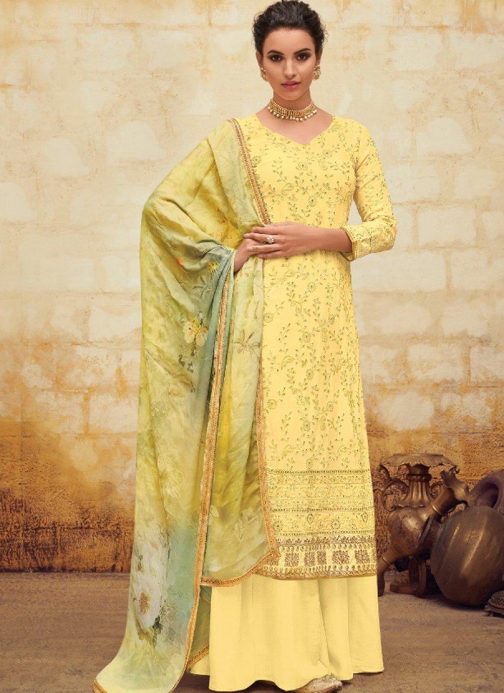 Yellow Georgette Digital Print Salwar Suit
