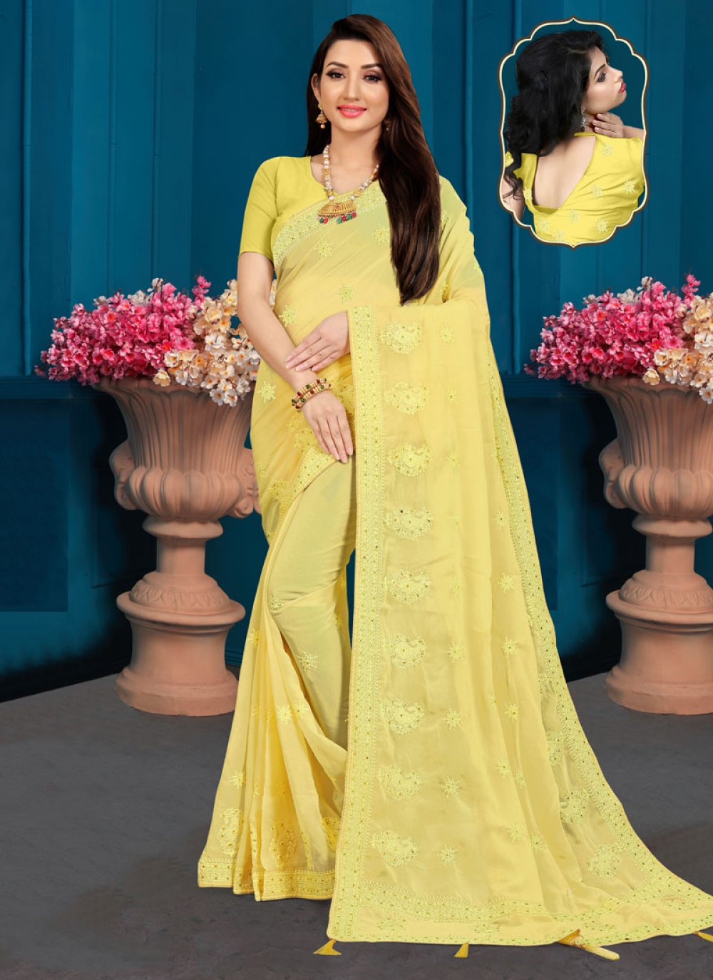 Yellow Georgette Party Trendy Saree